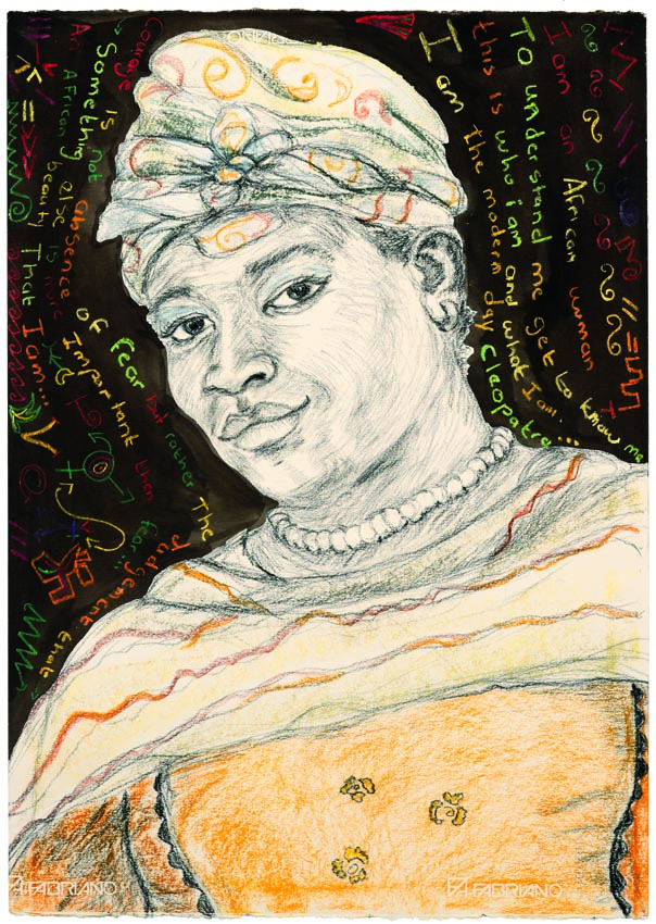 art: portrait of Madam Jholerina from Namibia